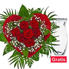 """Rosenstrauß """"Rosen für Dich"""" mit Vase"""