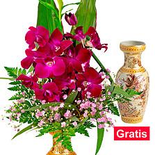 Ming Vase mit asiatischen Orchideen
