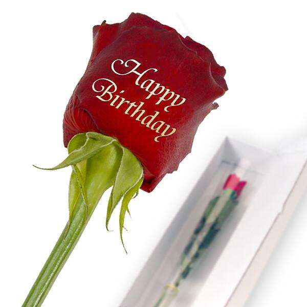 "Edelrose mit Golddruck: ""Happy Birthday"