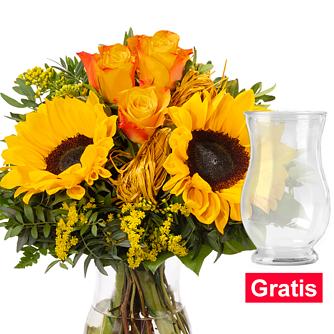 Blumenstrauß Helios mit Vase
