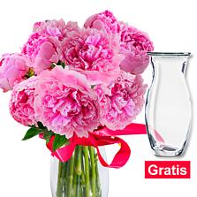 Prächtige Pfingstrosen im Bund mit Vase