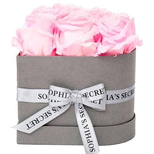 6 rosa haltbare Rosen in grauer Herz-Box