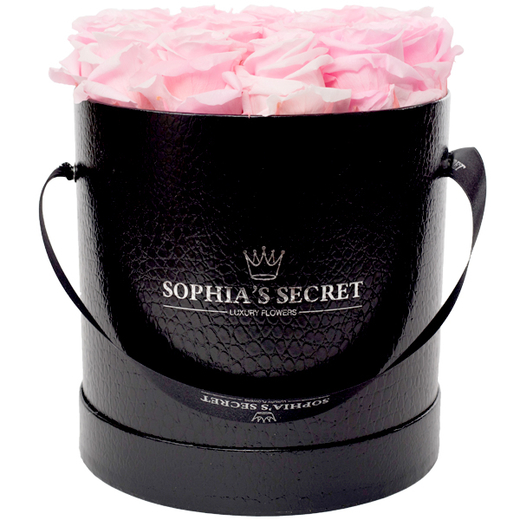 20 rosa haltbare Rosen in schwarzer Hutschachtel