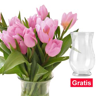 20 rosa Tulpen im Bund mit Vase