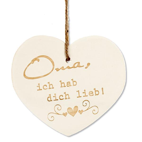 """Holzanhänger Herz """"Oma, ich hab dich lieb"""" mit Kordel"""