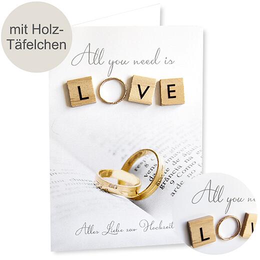 Motivkarte Hochzeit mit Holz-Täfelchen & Kunstring