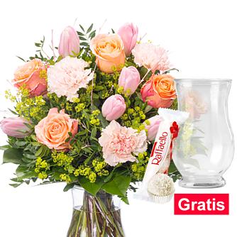 Blumenstrauß Zuckerwatte mit Vase & Ferrero Raffaello
