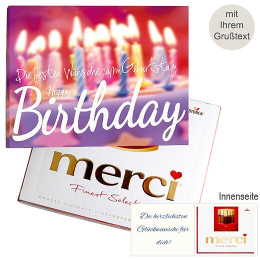 Persönliche Grußkarte mit Merci: Happy Birthday