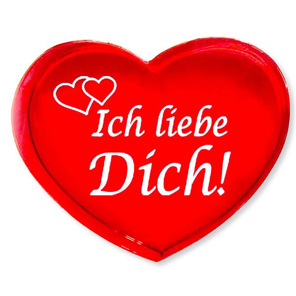 """Rotes Glasherz """"Ich liebe Dich!"""""""