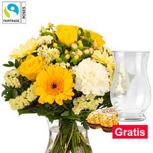Blumenstrauß Frühlingslicht mit Vase & 2 Ferrero Rocher