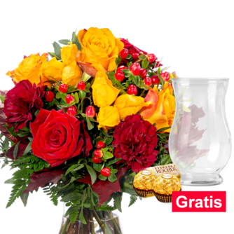 Blumenstrauß Goldglanz mit Vase & 2 Ferrero Rocher