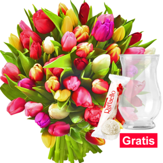 Tulpen im Bund mit Vase & Ferrero Raffaello