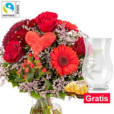 Blumenstrauß Liebesbrief mit Vase & 2 Ferrero Rocher