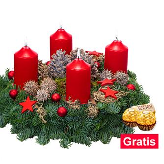 Roter Adventskranz (Ø 25cm) mit 2 Ferrero Rocher