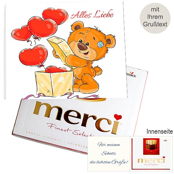 Persönliche Grußkarte mit Merci: Alles Liebe