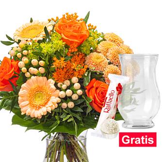 Blumenstrauß Sommerlicht mit Vase & Ferrero Raffaello