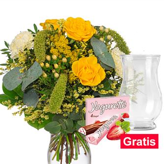Blumenstrauß Happy Day mit Vase & Ferrero Yogurette