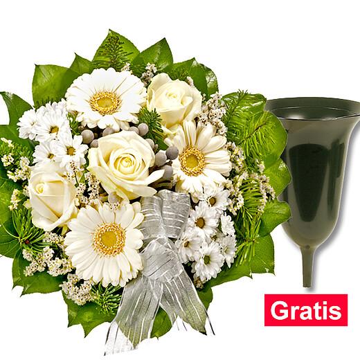 Trauerstrauß in Weiß mit Grabvase