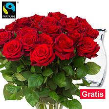 Rote FAIRTRADE Rosen im Bund mit Vase