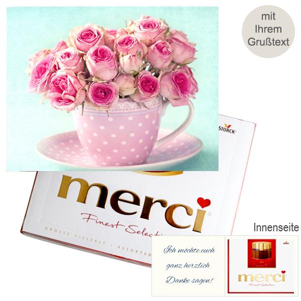 Persönliche Grußkarte mit Merci: Rosen